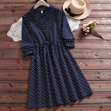 Vestido de mujer Mori japonés otoño primavera cuello vuelto estrellas impresas Vestidos elegante algodón azul marino Rosa Vintage vestido