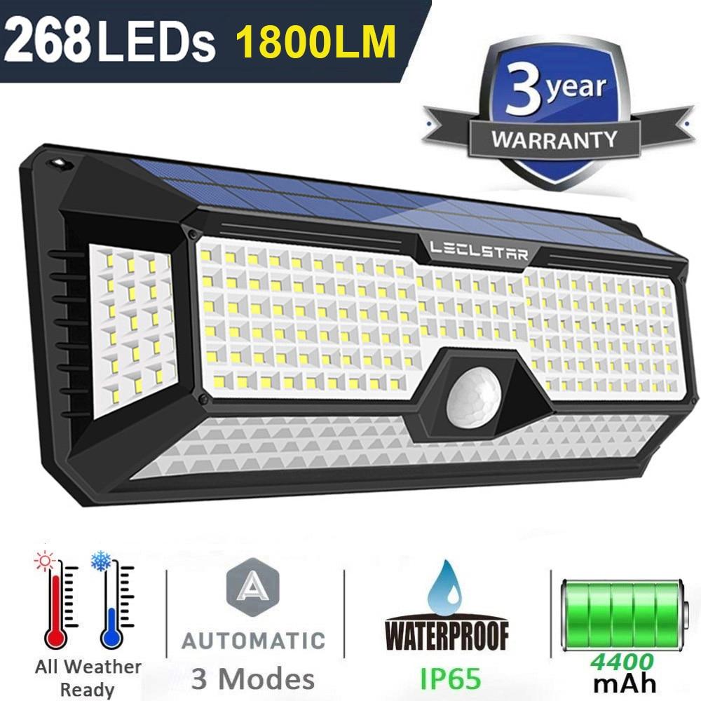 268 128 LED Street Lights Waterproof Solar Power PIR Motion Sensor Wall Light Outdoor Lighting Ground Garden Lamp Path Home Yard