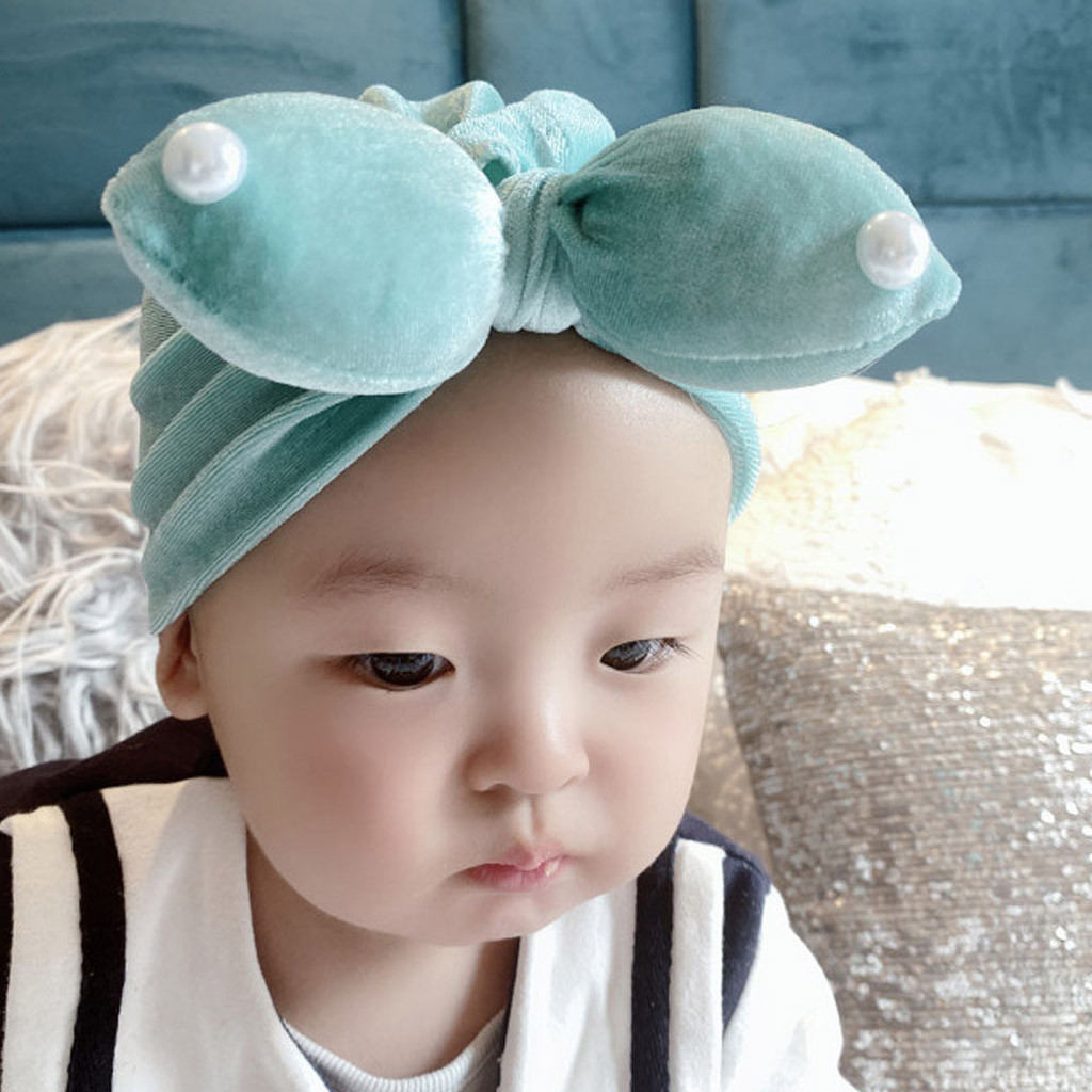 Newborn Baby Boy Girl Solid Bow Tie Knotted Hat Beanie Headwear Cap Hat Autumn and winter velvet rabbit ears pearl Indian hat