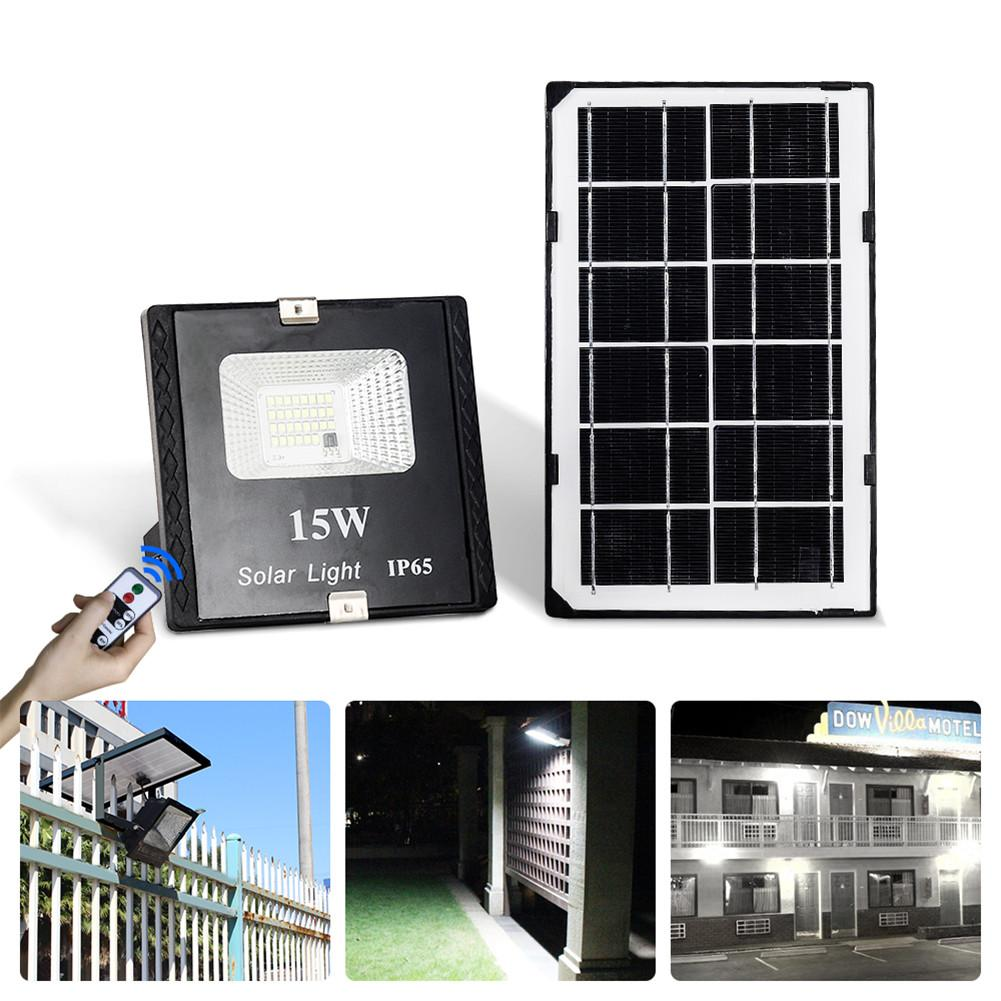 15W  LED Solar Flood Light With Remote Control  IP65 Waterproof Dimmable Flood Lamp For Outdoor Use