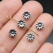 20 pçs flor grânulos para fazer jóias 7mm antigo prata cor jóias acessórios diy artesanal artesanato