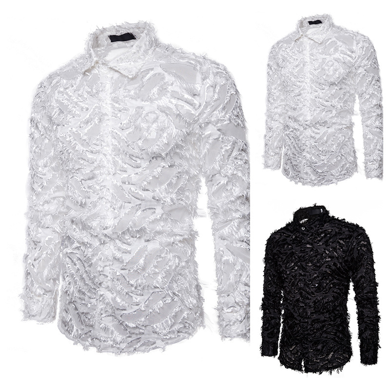 2020 Fashion Men Fake Feather Shirts Stage Performance Night Club Party Shirt Slim Fit Long Sleeve Mens Brand Tops Clothes