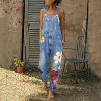 Jumpsuit Women Flower Print Denim Overalls Ladies Casual Harem Bib Pants Streetwear Female 2019 Jean Strap Rompers Bodysuits D25