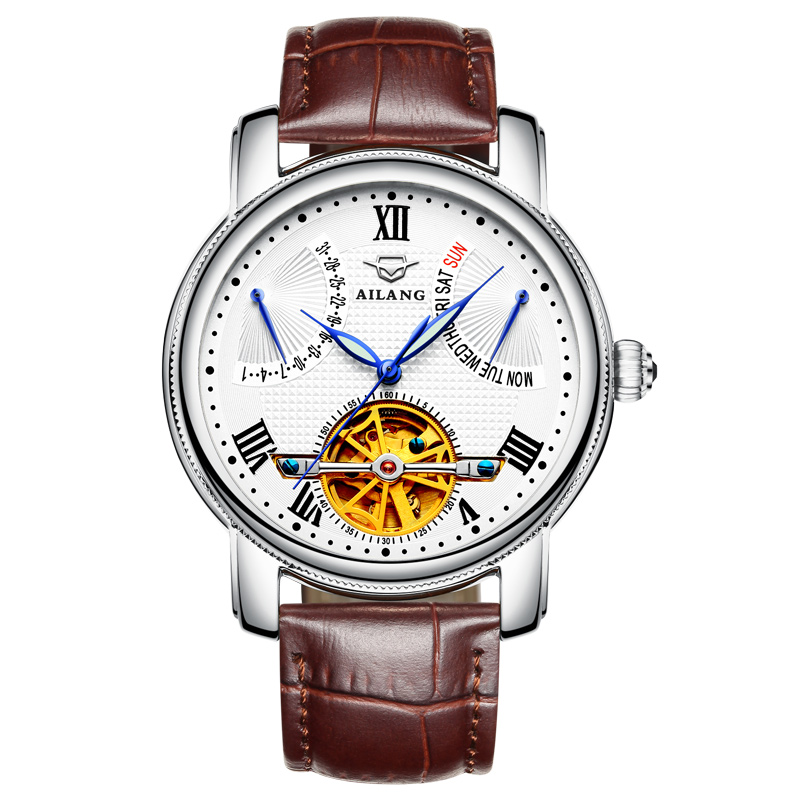 AILANG 5802 Switzerland watches men luxury brand Tourbillon multifunctional automatic Relogio Genuine Leather Bracelet horloges|Mechanical Watches|   - title=