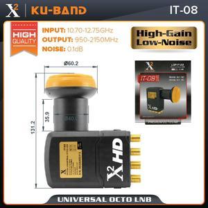 Image 4 - X square LNB dla satelitarnego odbiornik TV uniwersalne pasmo KU LNB ekstremalne wysokie wzmocnienie uniwersalne 8 out LNBF