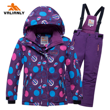 Ski-Suit Pants Waterproof Children Jacket Girls Kids Winter 2pieces for Skiing