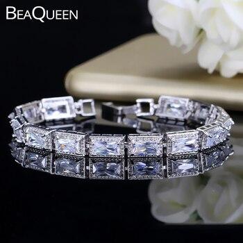 BeaQueen Luxus CZ Kristall Braut Armband Top Qualität Big Cubic Zirkon Stein Gepflasterte Hochzeit Armbänder Armreifen für Frauen B102
