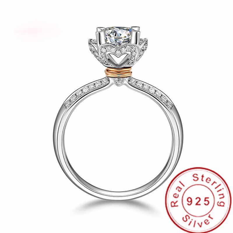 2019 หัวใจดอกไม้แหวน 925 เงินสเตอร์ลิง AAAAA CZ งานแต่งงานแหวนสำหรับเจ้าสาวเครื่องประดับ