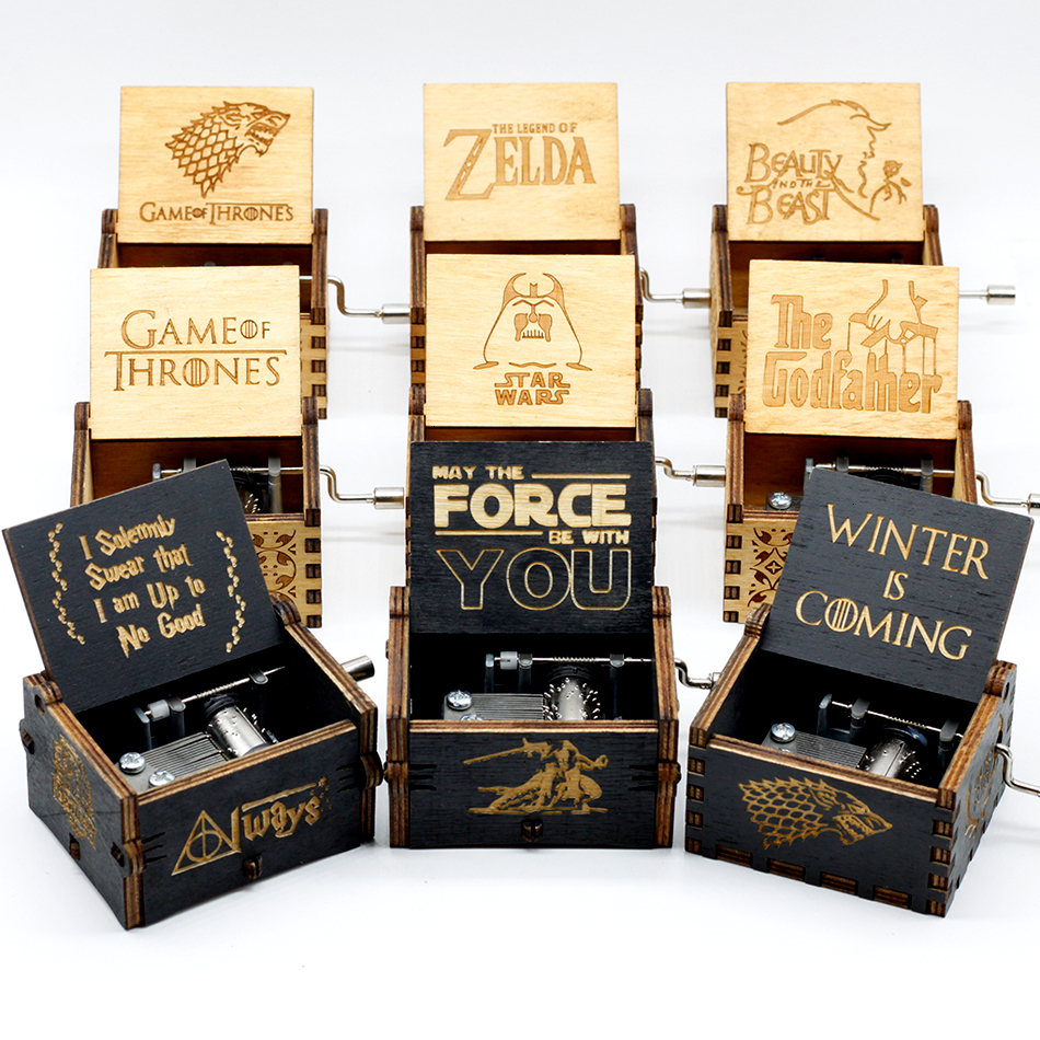 Free Shipping Wooden Hand Crank Queen The Legend Of Zelda Game Of Thrones Star Wars The Godfather Theme Music Box Christmas Gift image