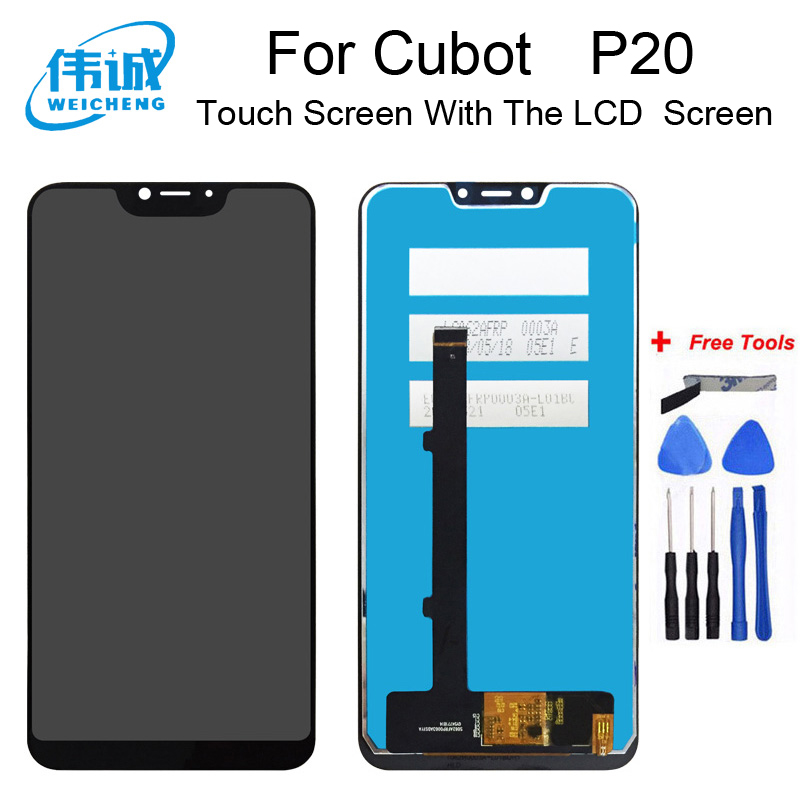 WEICHENG Top Quality For Cubot P20 LCD Display+Touch Screen Digitizer Assembly Replacement Accessories +Free Tools