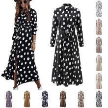 2021 Women Fashion Dress Ladies Simple Style Long Sleeve Robes Strap Button Lapel Print Breasted Shirt OL Commuting Work Wear