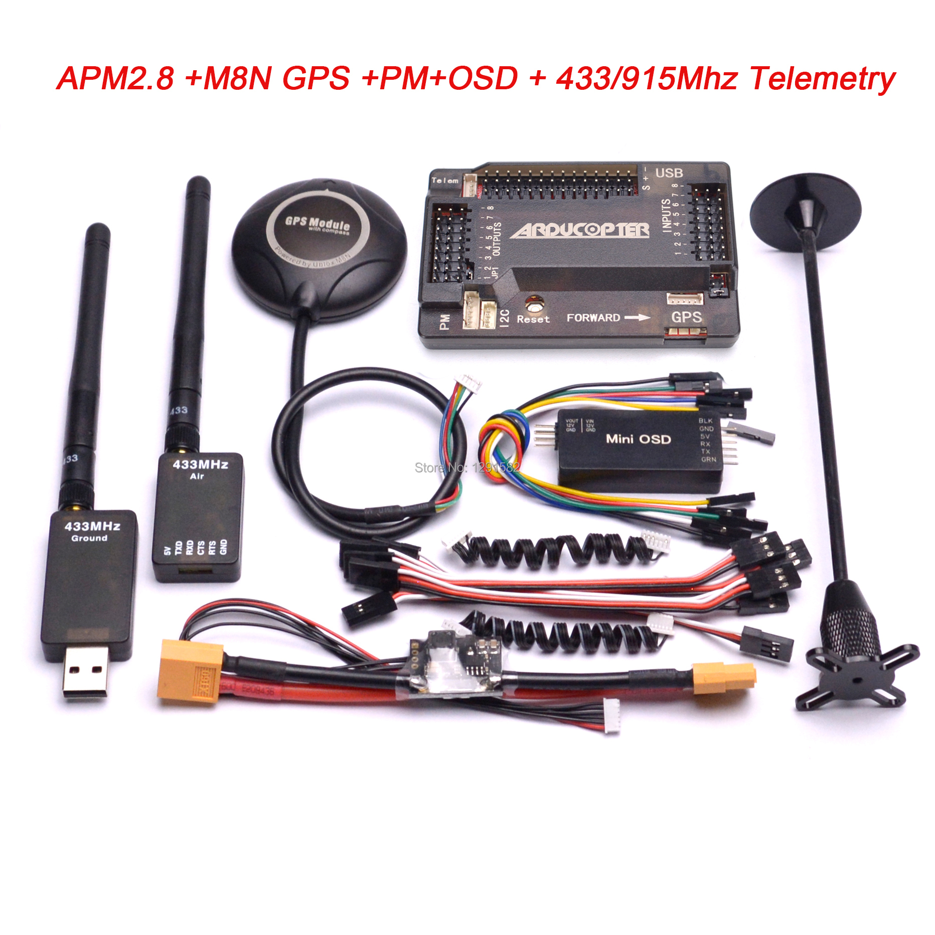 APM2.8 APM 2.8 Flight Controller M8N 8N GPS Compass + Power Moudle + Mini OSD + 915Mhz / 433Mhz 100mw / 500mw Telemetry Kit