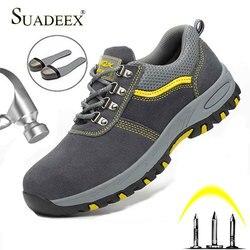Suadeex aço toe boné sapatos de trabalho ao ar livre botas de construção masculino feminino à prova punctura segurança sapatos de trabalho industrial tênis