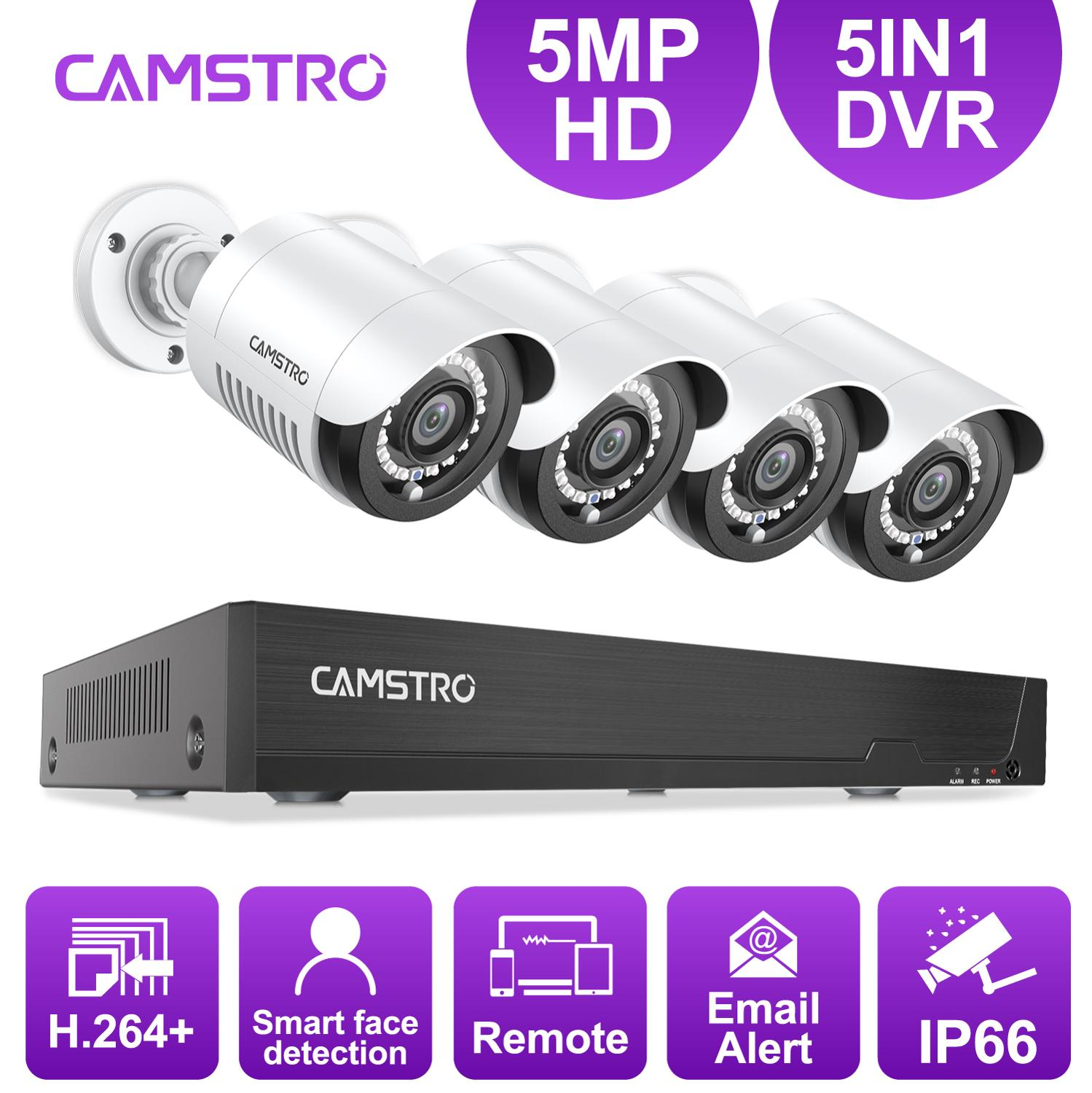 Camstro 4CH 5MP Security Camera System 5MP Lite 5IN1 H.264+ DVR With 4PCS 5MP HD Bullet Outdoor Waterproof Surveillance CCTV Kit