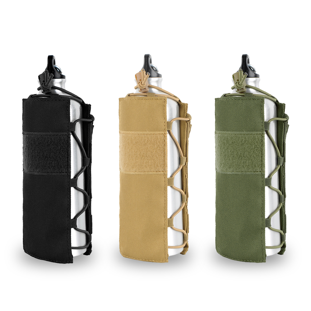 Tactical Molle Water Bottle Pouch 1050D Nylon Military Canteen Cover Holster Outdoor Travel Kettle Bag 0.5L-2L
