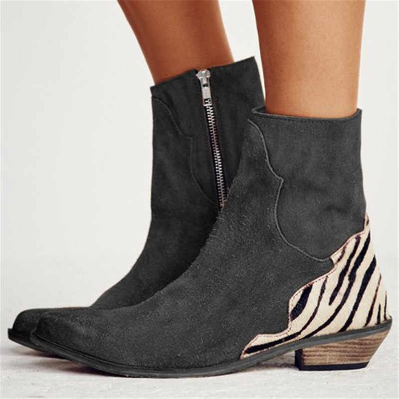 Litthing 2019 seksi leopar sivri burun ayak bileği çizmeler kadın ayakkabıları fermuar Zebra desen derin düz topuk çizmeler bayan ayakkabıları bayan botları