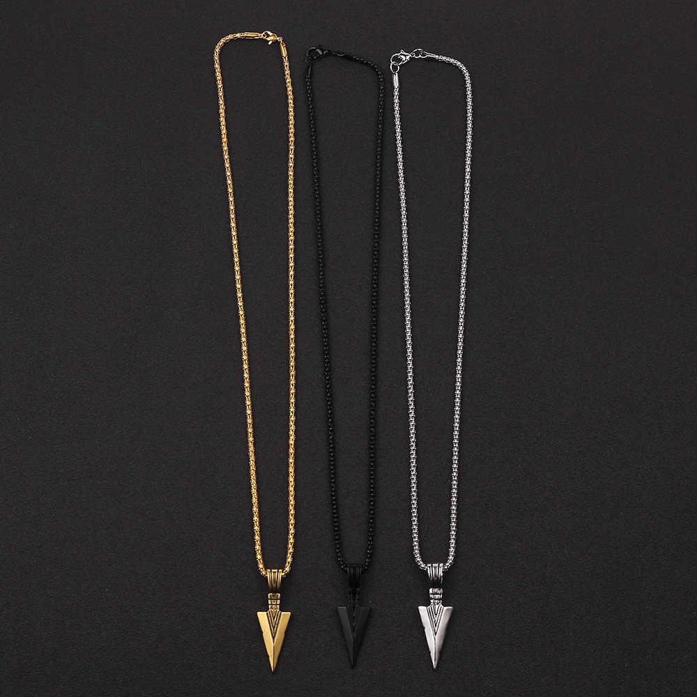 2019 nowa moda męska biżuteria złoto srebro czarna główka strzały wisiorek długi naszyjnik z łańcuszkiem męskie naszyjniki ze stali nierdzewnej