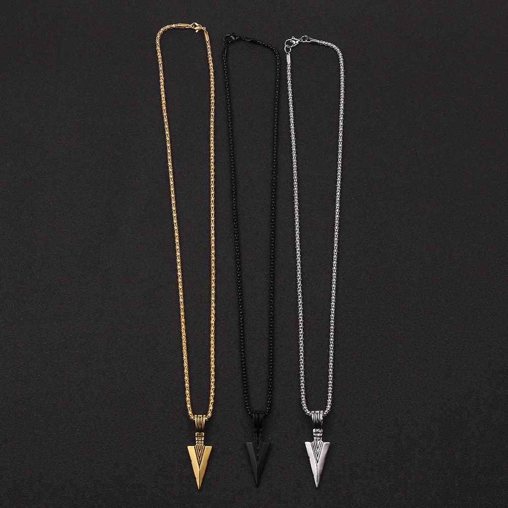 2019 新メンズファッションジュエリーゴールドシルバー黒矢印ヘッドペンダントロングチェーンネックレスメンズステンレス鋼のネックレス