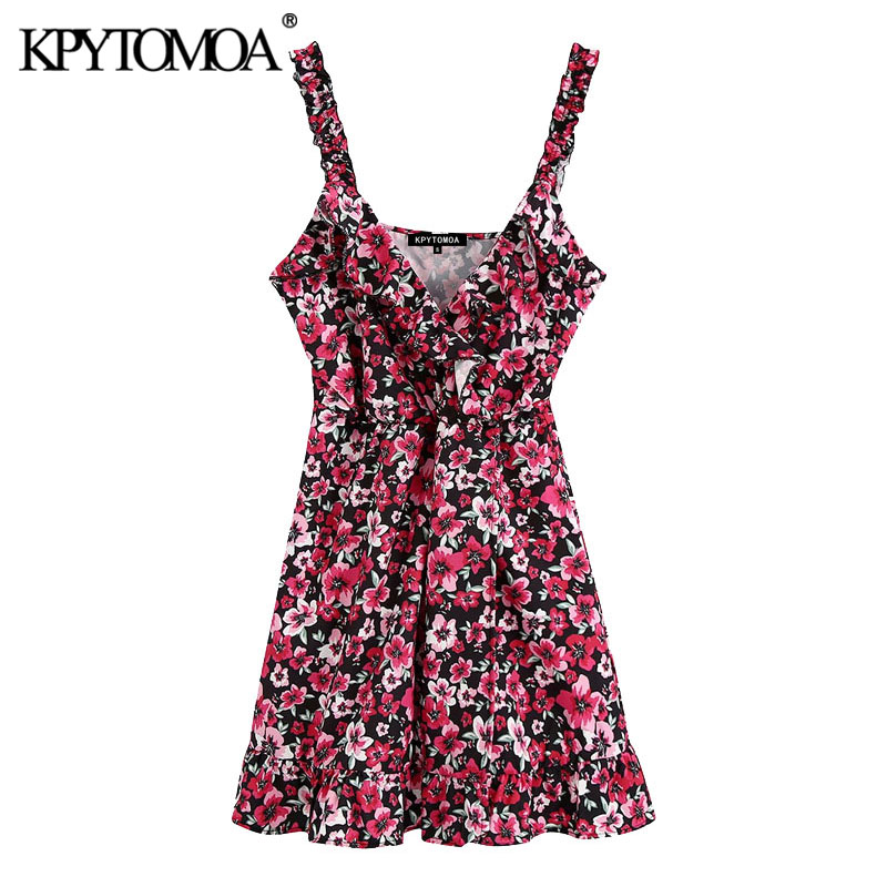 KPYTOMOA Women 2020 Chic Fashion Floral Print Ruffled Mini Dress Vintage V Neck Sleeveless Straps Female Dresses Vestidos Mujer
