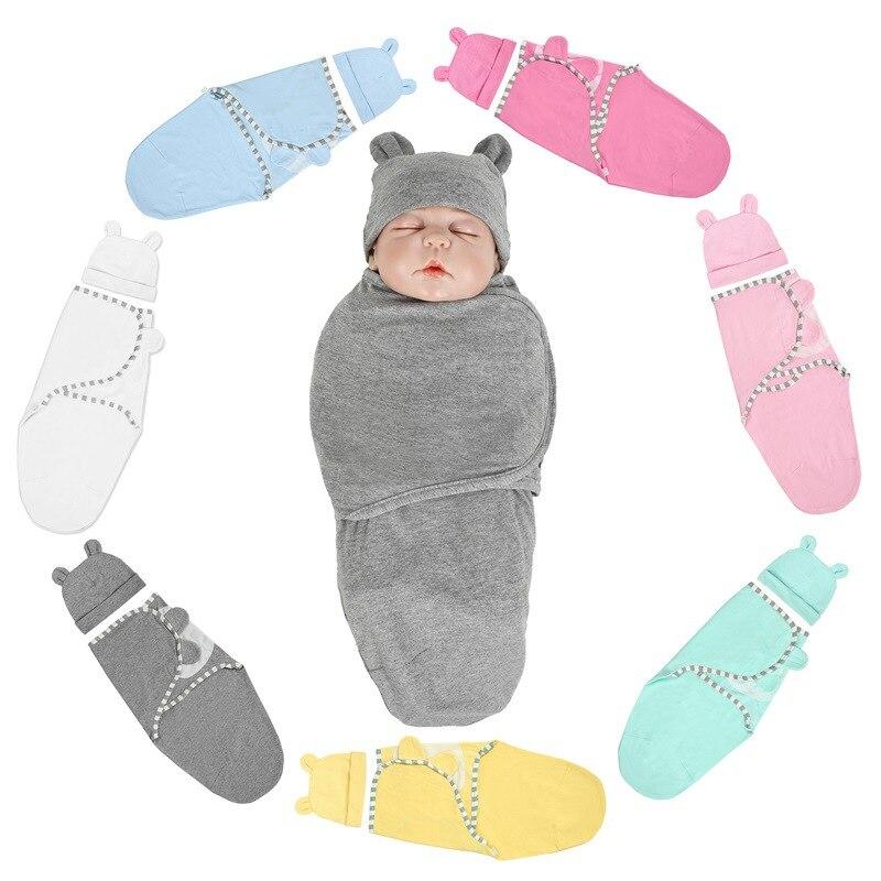 HereNice Newborn Infant Baby Blanket Swaddle Solid Cotton Cross Sleeping Bag Kids Sleep Sack Stroller Wrap Swaddling With Hat