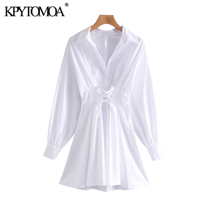 KPYTOMOA Women 2020 Fashion With Drawstring Tied Pleated Mini Dress Vintage Long Sleeve Back Zipper Female Dresses Vestidos
