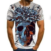 Camiseta com estampado 3d para homem, camisa de diablo y calavera, estilo harajuku, de verano, cuello redondo