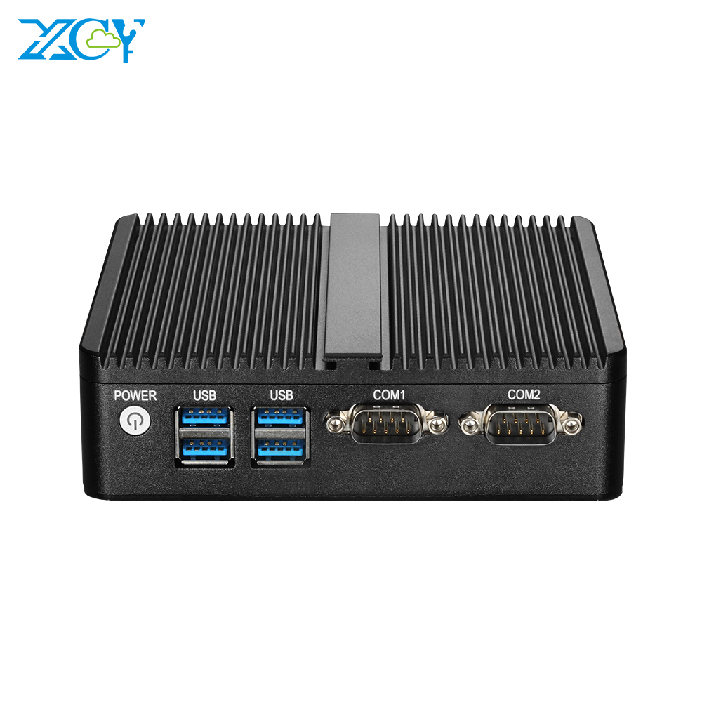 Mini PC Quad Cores Intel Celeron J4105 Windows 10 DDR3L MSATA SSD WiFi Bluetooth RS232 Dual NIC HDMI VGA 4*USB Fanless