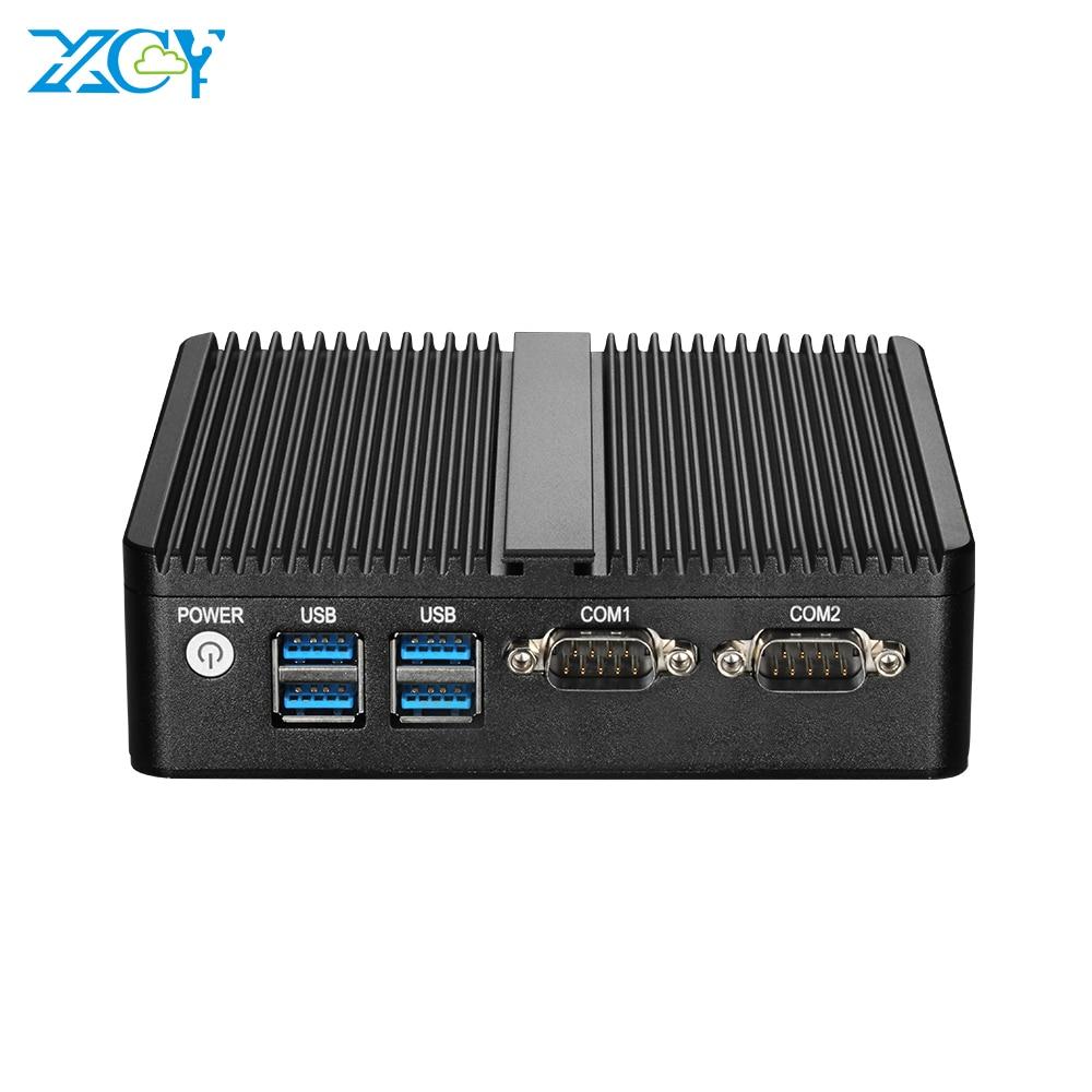 Mini PC dört çekirdekli Intel Celeron J4105 Windows 10 DDR3L mSATA SSD WiFi Bluetooth RS232 çift NIC HDMI VGA 4 * USB fansız