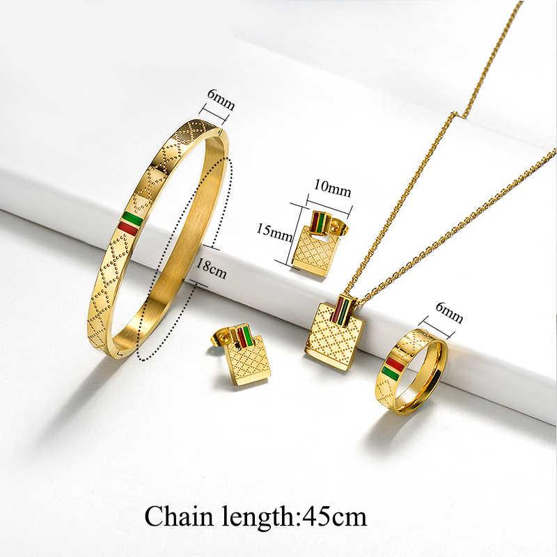 Baoyan Merek Terkenal Perhiasan Grosir Stainless Steel Perhiasan Set Kalung Cincin Anting-Anting Anting-Anting Pernikahan Perhiasan Set untuk Wanita
