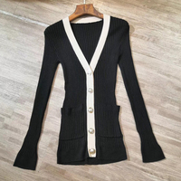 Long Sleeve Sweater Cardigans Female 2019 Spring Summer Cardigans New Style white and black Slim Fit Silk Sweater