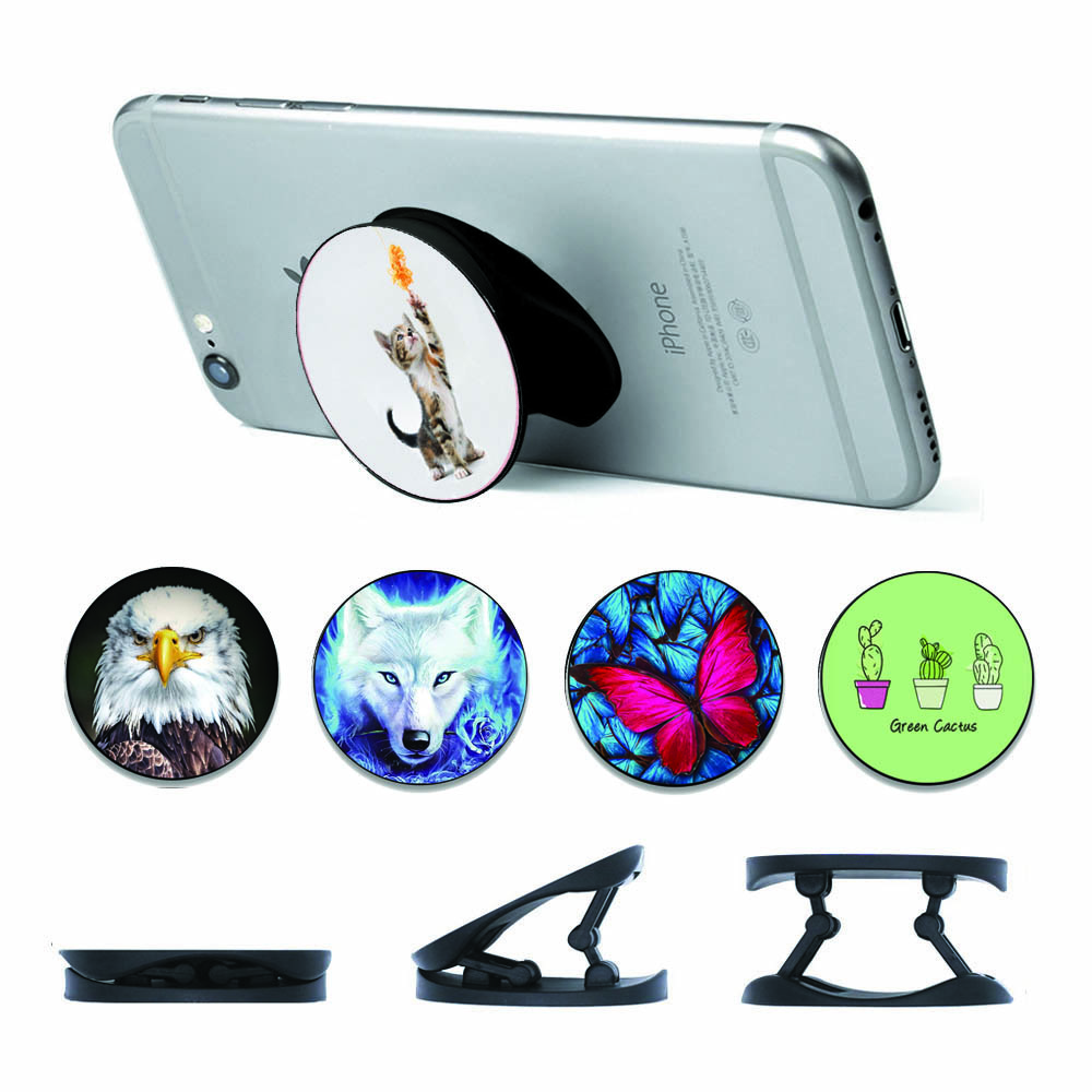 Flower Lion Wolf Foldable Finger Ring Holder Phone Stand For Smartphone And Tablet Phone Bracket