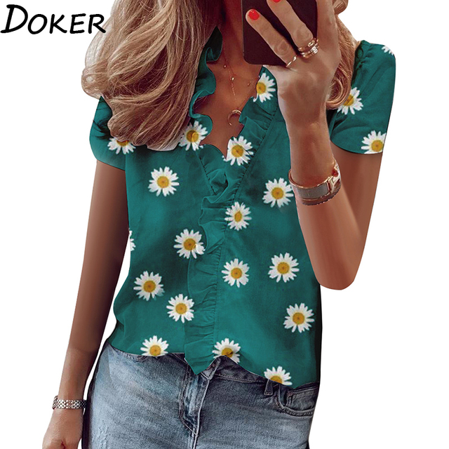 2020 New Design Womens Tops And Blouses Streetwear Floral Print V-neck Short Sleeve Women Shirts Plus Size Office Blouse Femme