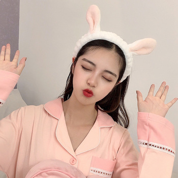 Wash Face Hair Holder Hairbands Soft Warm Coral Fleece Bow Animal Ears Headband For Women Girls Turban Fashion Hair Accessories 6