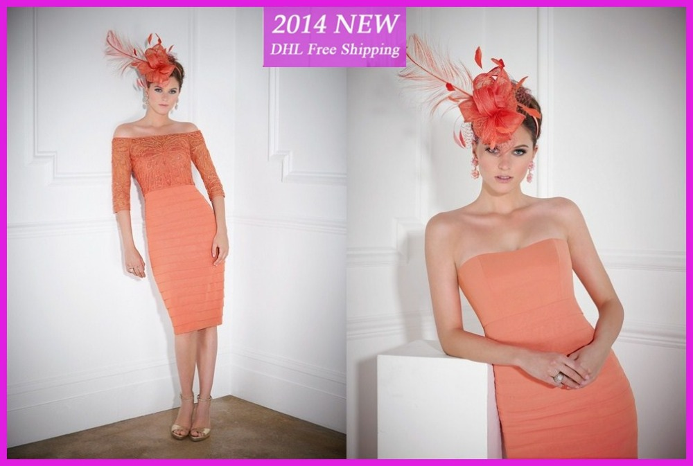 Free Shipping New Style Orange Fashion Mother Of The Bride Dresses With Lace Jacket 2020 Sheath Chiffon Dress