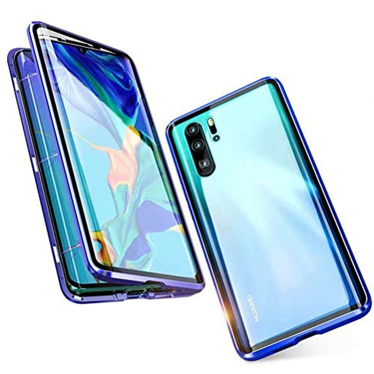 360 Magnetic Metal Aluminum Frame Tempered Glass Case For Huawei P30 Pro Nova 5i 5 4 Play Honor 20 10 Lite 8X Cover Hard Caso