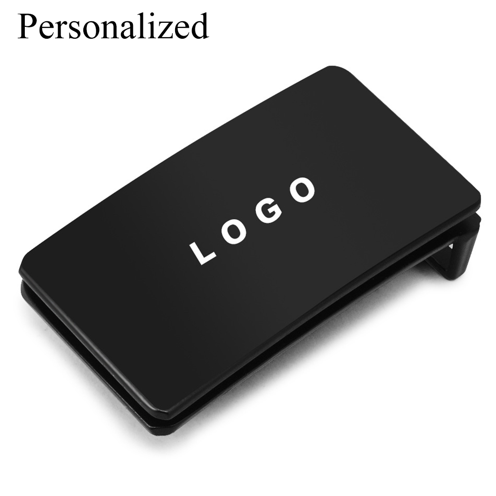 Custom Engraved Logo Black Smooth Belt Buckle Mens Accessories 3.5cm Alloy Plate Belt Buckles For Fathers Boyfriend Gifts QiQiWu