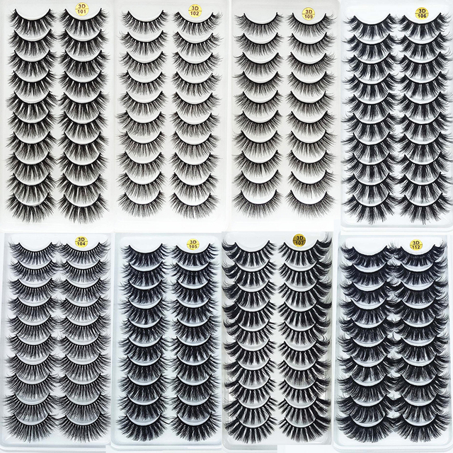 5/10/20Pairs 3D Mink Lashes Natural Mink False Eyelashes Dramatic Volume Fake Eyelash Extension Faux Cils Wholesale Makeup Tools 3