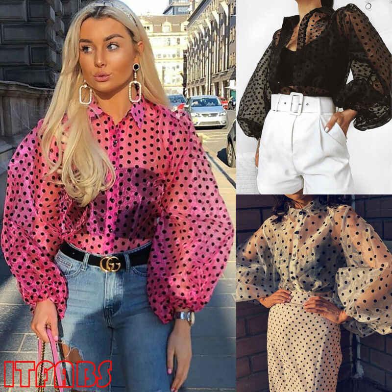 חדש נשים Mesh Sheer ראה דרך פנס ארוך שרוול חולצה אופנה פנינת כפתור שקוף לבן נקבה Blusas