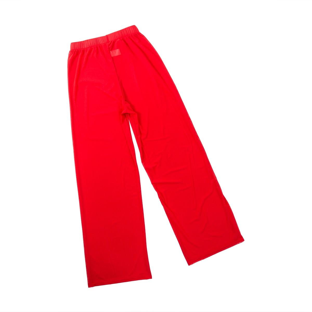 Women Beach Mesh Capris Solid Transparent Wide Leg Pants Ankle-Length Cover-Up Trousers Female Elastic High Waist Loose Pants