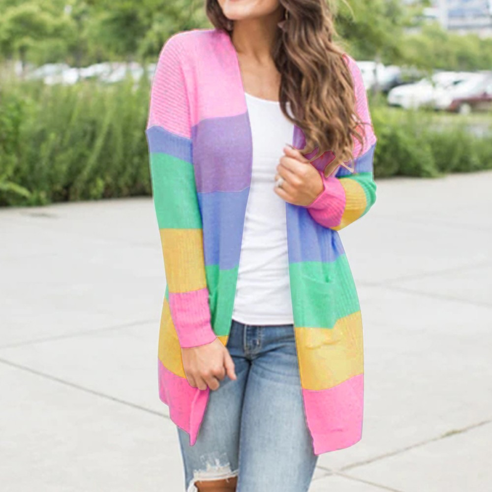 Women Autumn Sweater Women Patchwork Knitted Long Sleeve Pockets Rainbow Stripe Cardigan Tops Sweater Coat sueter mujer invierno