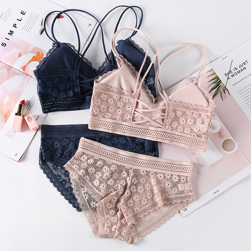 Women Bras Sexy Lingerie Lace Bra Briefs Sets Seamless Underwear for Girls Transparent Panties Backless Bralette With Padded|Bra & Brief Sets| - AliExpress