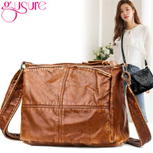 Gusure Patchwork Soft PU Bag for Lady Black Brown Simple Square Purse Daily Totes Leather 2020 Women Messenger Sling Bags(China)