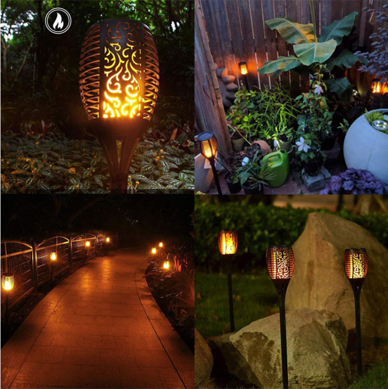 Solar Flame Lamp Outdoor Torch Lights Safety Waterproof Light Flicker Lights For Garden Decoration On Dusk Landscape Lights
