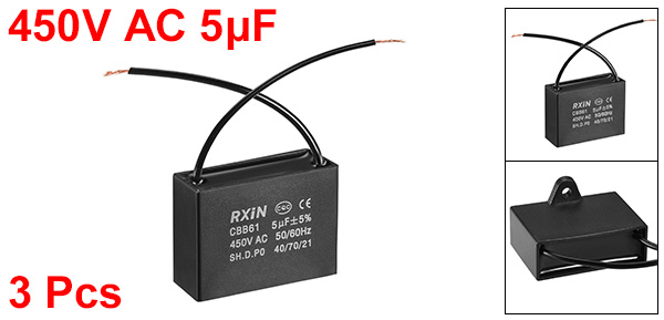 sourcing map CBB61 Run Capacitor 450V AC 0.47uF 2-Wire Metallized Polypropylene Film Capacitors for Ceiling Fan 5Pcs