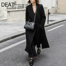 DEAT Women Black Brief Long Big Size Temperament Trench New Lapel Long Sleeve Lo
