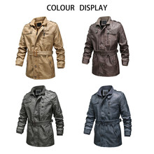 KLV Mens Jackets Autumn Vintage Zipper Stand Collar Solid Imitation Leather Jacket Coat Outwear Winter Fashion