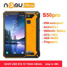 "Nomu S50 Pro 2019 Smartphone Android 8.1 IP69 IP68 Tahan Air Tahan Guncangan Ponsel 5.72 ""HD 8MP + 16MP NFC sidik Jari + Face ID(China)"