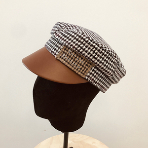 Image 3 - Autumn and Winter European Small Fragrant Letter Leather Along The Houndstooth Flat Hat Fashion Hat Peak Hat Hepburn Army Hat