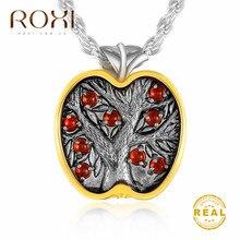 ROXI Fashion Statement Necklace Women Green Crystal Round Small Pendant Boho Apple Tree Choker Party Jewelry
