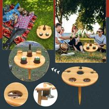 Garden Furniture Portable Wooden Table Outdoor Foldable Wine Table With Round Desktop Camping Travel Beach